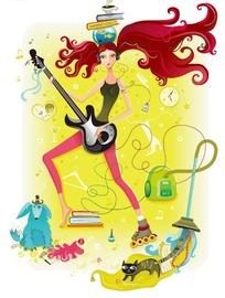 卡通插画 拿着电结他头顶书本的摇滚长发美女