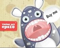 卡通动物 张着大嘴露出牙齿的怪兽