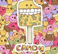 卡通角色 列着牙齿的冰淇淋 和微笑的糖果