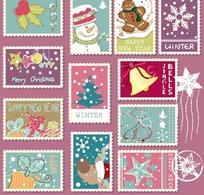 卡通圣诞元素邮票