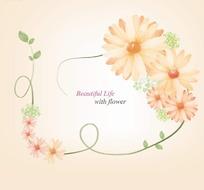 粉色漂亮花朵和绿色枝条围成的边框插画psd分层素材