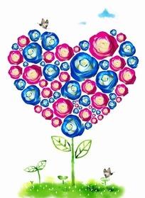 蓝色和枚红色玫瑰花构成的心形花朵psd分层素材