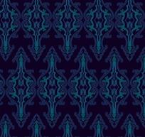 深蓝色背景上的重复对称花纹构成的图案