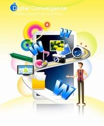 数字融合插画—平板电脑前的立体图标照片和男人psd素材