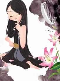 插画—盛开的百合花和梳头的长发美女psd素材