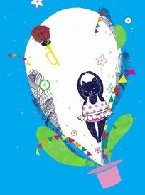 粉色魔术帽上方的花纹和三角旗以及喇叭插画psd素材