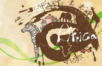 插画—非洲的斑马长颈鹿大象和树木以及房屋psd素材