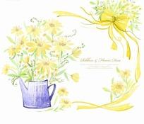 花洒中的黄色小花和黄色彩带
