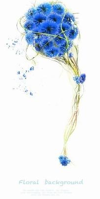 蓝色花球和藤条