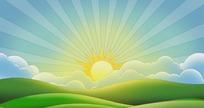 卡通风格太阳升起动态背景视频素材