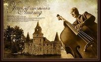 欧式复古怀旧房产广告-抱着大提琴的外国男士psd素材图片