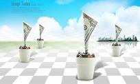 棋盘格上花盆里种植的美金