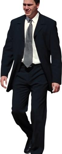 穿深色西装微笑着走路的外国商务男士psd素材