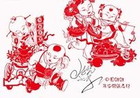 中国娃娃剪纸