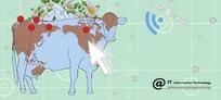 牛身上的地球和白色的箭头
