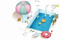 游泳池遮阳伞和岸边的游泳圈