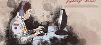 插画—电脑前戴耳机的男人psd素材