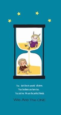 插画—青色背景前的沙漏和儿童psd素材