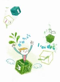 插画—正方体盒子里的女孩psd素材