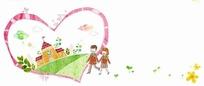 插画—粉色心形里的草地建筑和手牵手的男女学生psd素材