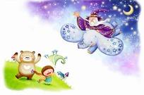 草地上的小孩小熊和骑着大象的老头卡通插画