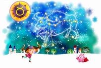 星座插画卡通空中的金牛座和小女孩插画卡通属羊摩羯座女3.17日运程图片