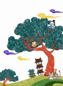 树上的小孩和古代建筑卡通插画