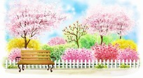 花园外面的休息长椅卡通插画