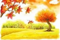 秋天的枫叶和树木卡通插画