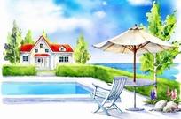 游泳池旁边的休息桌椅卡通插画