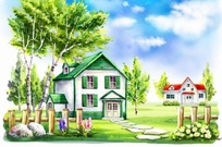 栅栏里面的红色绿色房子卡通插画