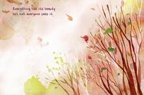 秋天的落叶和枯树水彩画
