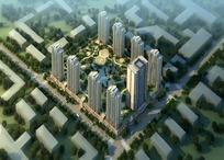 效果图—规划整齐的道路和城市高楼psd素材