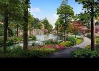 园林景观效果图—蓝天下的弯曲道路和河流以及绿树psd素材