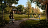 公园里的树木亭子和草地上的小路效果图psd素材