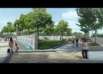 绿树草地和公园道路上的行人效果图psd素材