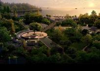 夕阳下的江面和绿树以及圆形广场效果图psd素材