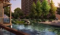 高楼绿树河流和栏杆效果图psd素材