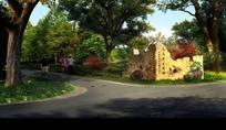 公园里的道路绿树和行人效果图psd素材