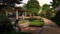 公园里的道路绿树和休息的人效果图psd素材