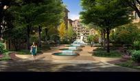 建筑喷泉绿树和道路效果图psd素材