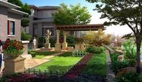 现代建筑和草坪以及花坛效果图psd素材