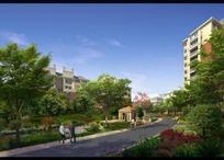 小区建筑和道路绿化效果图psd素材