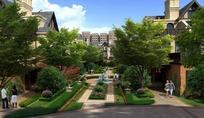 现代别墅和道路绿化效果图psd素材