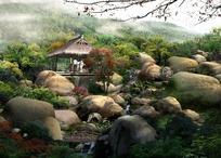 白云缭绕的树林和山间亭子效果图psd素材