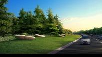 草坪绿树和道路上的汽车效果图psd素材