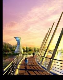 黄昏时的现代建筑和大桥效果图psd素材