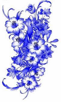 花卉工笔画 漂亮的蓝色花朵psd素材免费下载