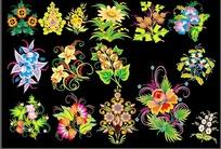 炫丽矢量花卉图案纹样