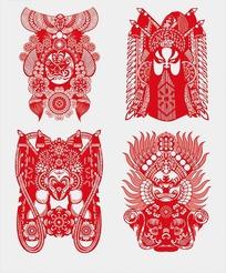 中国京剧脸谱剪纸